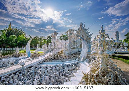 Chiang Rai, Thailand - Octuber 20 , 2016: Wat Rong Khun Temple (white Temple) In Chiang Rai, Thailan