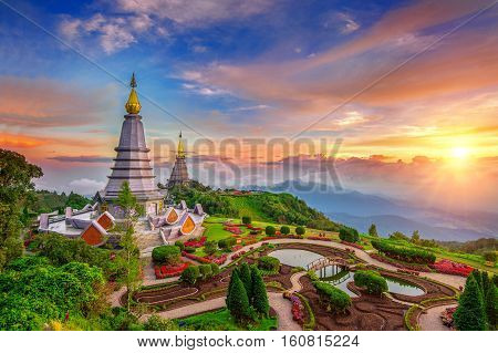 The Best Of Landscape In Chiang Mai. Pagodas Noppamethanedol & Noppapol Phumsiri At Sunset In Inthan