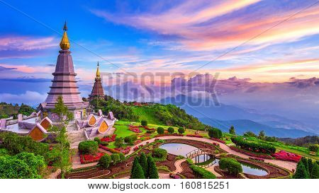 The best of landscape in Chiang mai. Pagodas Noppamethanedol & Noppapol Phumsiri at sunset in Inthanon mountain Thailand.