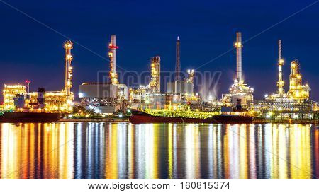 Oil refinery at night in Bangkok Thailand.