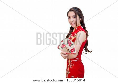 Beautiful young asian woman wearing Chinese traditional dress cheongsam or qipao isolated on white background.