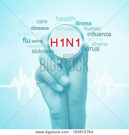hand holding stethoscope with h1n1 word. medical concept