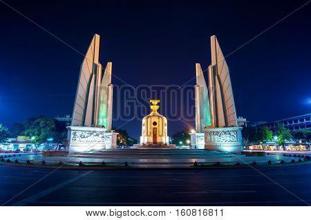 The Democracy Monument at night in Bangkok Thailand