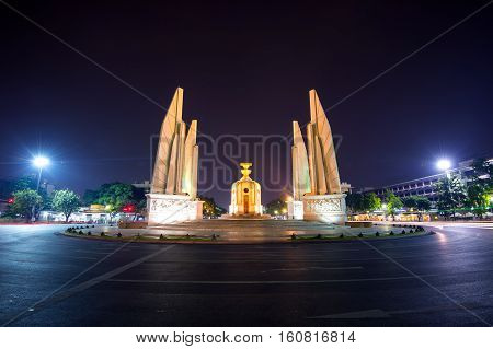 The Democracy Monument at night in BangkokThailand