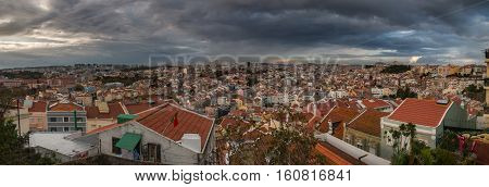 Lisbon, Portugal-panorama view on a stormy day
