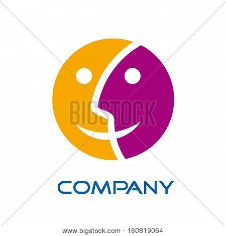 Vector sign double sided and faces, isolated illustration
