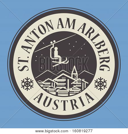 Abstract stamp or emblem with the name of town St. Anton am Arlberg in Austria ski resort vector illustration