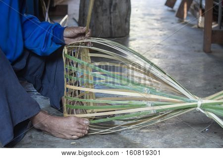 rual thai basket being made from bamboo wood