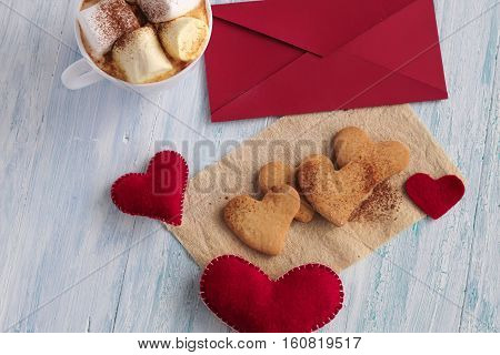Valentine Heart Cookies On Napkin