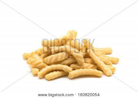 Pile of prawn cracker on white background