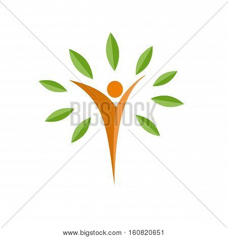 Vector logo man immersed in nature, isolated illustration