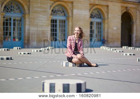 Beautiful Young Woman In Palais Royale In Paris