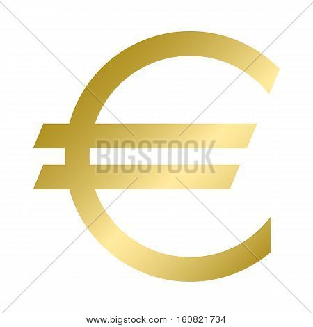 The Euro currency symbol in gold color. Vector illustration. Graphic symbol of the European currency the Euro. Logo.