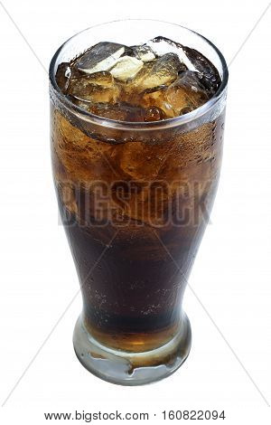 softdrink and soda in glass with ice cubes on white background. objects with clipping paths
