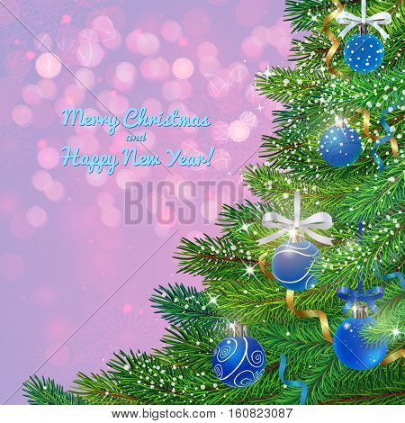 fresh green fur-tree branches and beautifull balls on christmas background