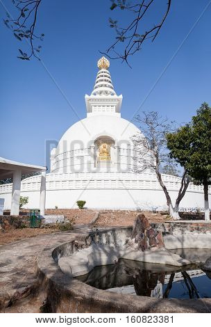 Shanti stupa - the Buddhist stupa of the peace constructed in vicinities of the Mountain of Gridhakuta where Buddha has made turn of a wheel of the teaching - Dharmachakra near the city of Rajgir in India.