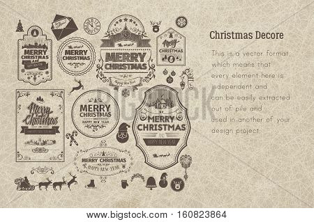 Set of retro vintage Christmas badges , design elements, labels, emblems on old scratched paper. Badges and labels with merry christmas greetings. Great for decoration cards, backdrops, book covers