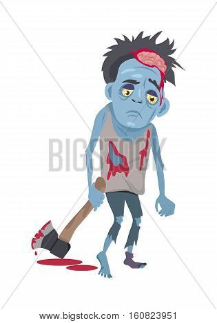 Scary zombie walking. Frightening dead man with blue skin, blood stains, dressed in tatter drags bloody ax flat vector illustration isolated on white background. Horror character for Halloween concept