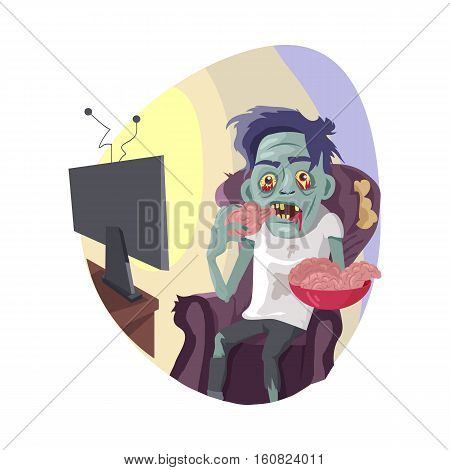 TV zombie. Creepy dead man with green skin seating in chair, watching TV-shows and eating brains from dish flat vector illustration isolated on white background. Zombiing of television viewers concept