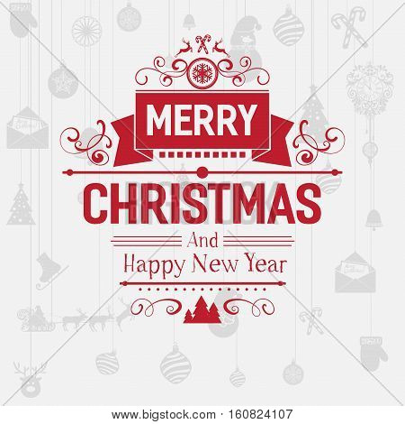 Modern merry christmas new year vector photo bigstock modern merry christmas and new year greetings badge emblem with red letters and simple clean m4hsunfo