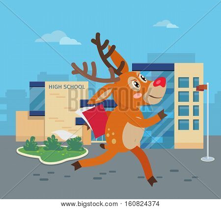Deer running to school with books. Reindeer hurrying to school. Cartoon character mammal pupil in flat style design. Back to school concept. Happy deer runs to high school. Vector illustration