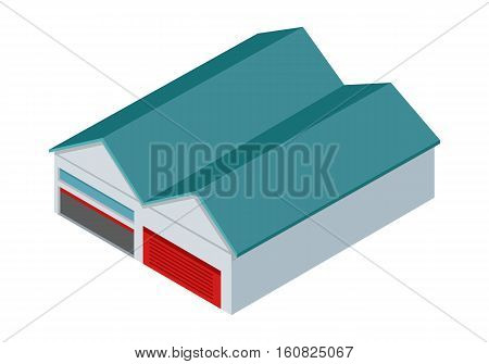 Hangars icon. Two hangars, garages or warehouses with rolling gates vector illustration in isometric projection isolated on white background. For apps, infographics, game environment, web design