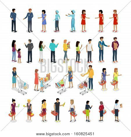 People in supermarket. Set of customers and sellers characters vector. Flat style design. Man and woman making purchases, sell goods. Supermarket personnel, consumer choice, shopping in mall concept.