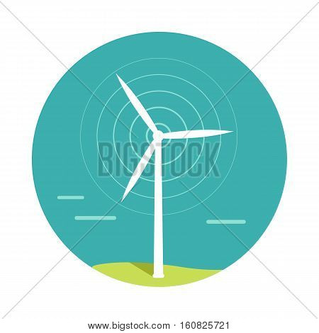 Wind turbine vector.  Flat design. Alternative energy technology and environmental protection. Wind moves turbine blades. For energetic, green electricity concepts. Isolated on white background