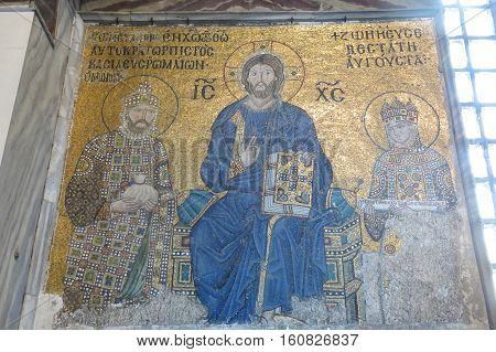 ISTANBUL - MAY 20: Mosaic of Christ Pantocrator in Hagia Sophia Museum on May 20 2016 in Istanbul Turkey. Considered one of the most beautiful mosaics of Byzantine art. 13th century in Hagia Sophia.