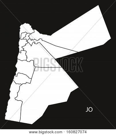 Jordan Governorates Map Black And White Illustration