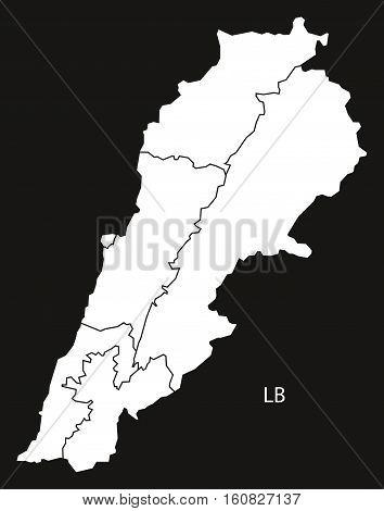 Lebanon Governorates Map Black And White Illustration