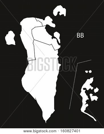 Bahrain Governorates Map Black And White Illustration
