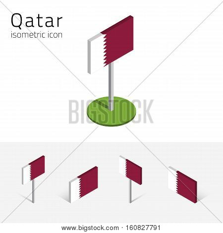 Qatari flag (State of Qatar) vector set of isometric flat icons 3D style different views. 100% editable design elements for banner website presentation infographic poster map. Eps 10