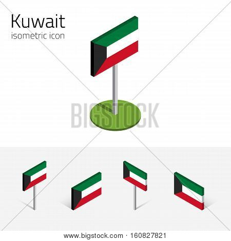 Kuwaiti flag (State of Kuwait) vector set of isometric flat icons 3D style different views. 100% editable design elements for banner website presentation infographic poster map. Eps 10