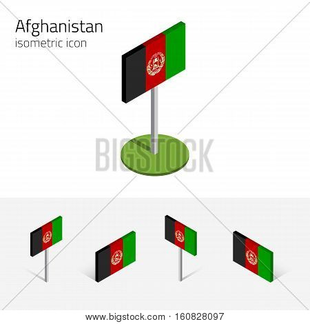 Afghani flag (Islamic Republic of Afghanistan) vector set of isometric flat icons 3D style different views. Editable design elements for banner website presentation infographic map. Eps 10