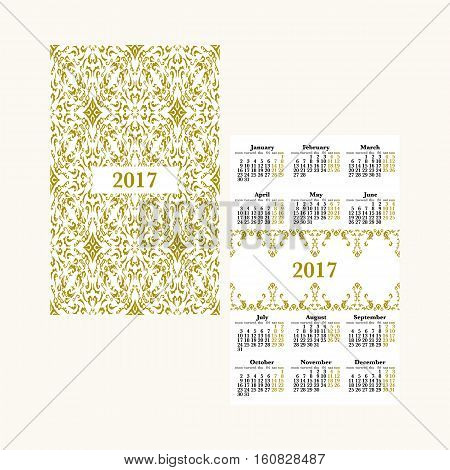 Vertical pocket calendar for 2017 year. Week starts Monday. Double-sided calendar for 2017 year. Yearly calendar template with text 2017 and damask classic pattern.