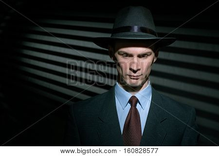 Fashionable Young Man Detective In Suit And Trilby Hat