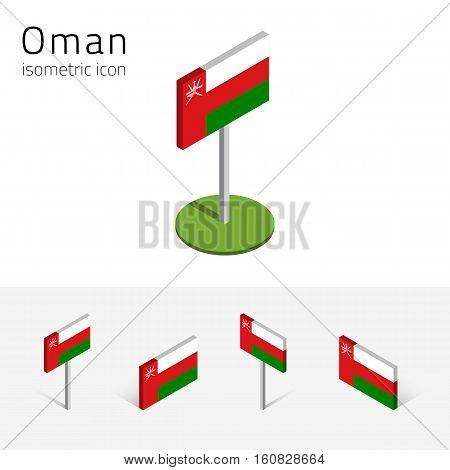 Omani flag (Sultanate of Oman) vector set of isometric flat icons 3D style different views. 100% editable design elements for banner website presentation infographic poster map. Eps 10
