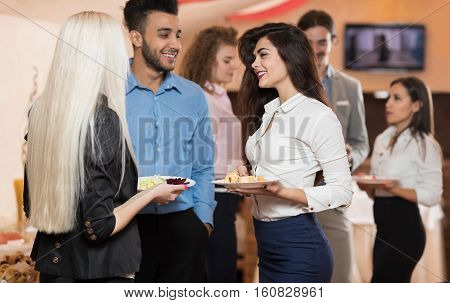 Businesspeople Group Catering Buffet Food Restaurant, Business Banquet At Company Event Celebration, People Team Communication Coffee Break