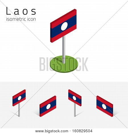 Laotian flag (Lao People's Democratic Republic) vector set of isometric flat icons 3D style different views. Editable design elements for banner website presentation infographic map. Eps 10