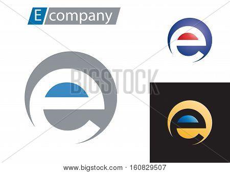 Vector sign spherical letter E, isolated logo