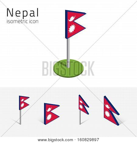Nepalese flag (Federal Democratic Republic of Nepal) vector set of isometric flat icons 3D style. Editable design elements for banner website presentation infographic poster map card. Eps 10