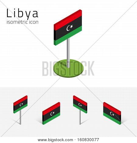 Libyan flag (State of Libya) vector set of isometric flat icons 3D style different views. 100% editable design elements for banner website presentation infographic poster map card. Eps 10
