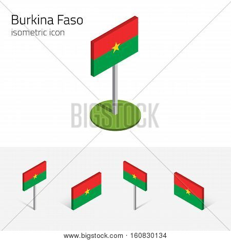 Burkinabe flag (Burkina Faso state) vector set of isometric flat icons 3D style. African country flags. Editable design elements for banner website presentation infographic poster map. Eps 10
