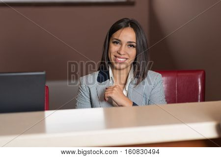 Asian Woman Hotel Receptionist Stand At Reception Table In Lobby Smiling Meeting Counter Arrival