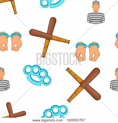 Crime and punishment pattern. Cartoon illustration of crime and punishment vector pattern for web