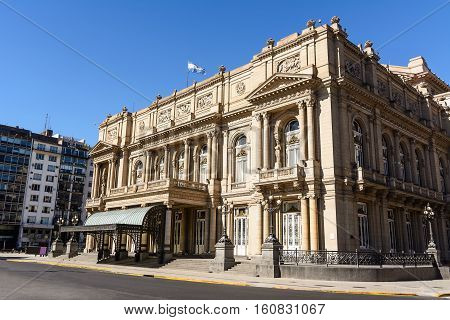Facade of the Teatro Colon in Buenos Aires (Argentina)