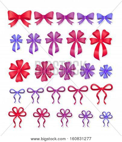 Set of decorative bows. Big set of gift bows with ribbons. Vector cartoon illustration of bows and ribbons of different shapes and sizes. Flat style design. Soft colors. Present bows decor collection