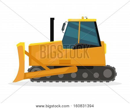Bulldozer vector illustration. Flat design. Heavy construction machine for earthworks. Illustration for building concepts, city works infographics, icons or web design. Isolated on white background