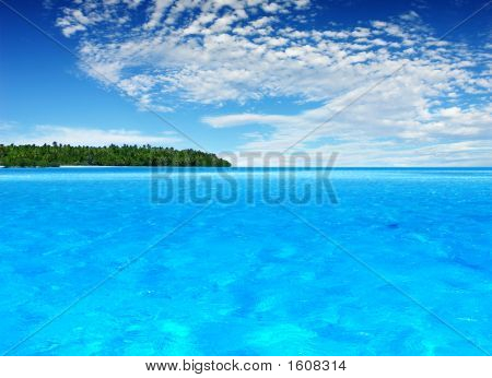 A Beautiful Tropical Island in the distance poster